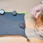 Montage provisoire de tricot mailles en attente
