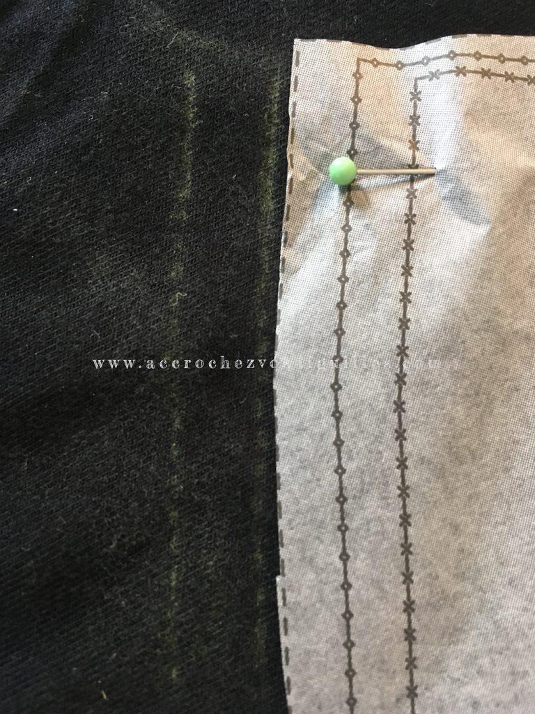 Marges de couture transférées avec la roulette double